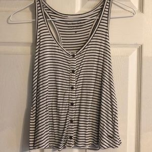 Hollister Black and White Stripe Tank Top
